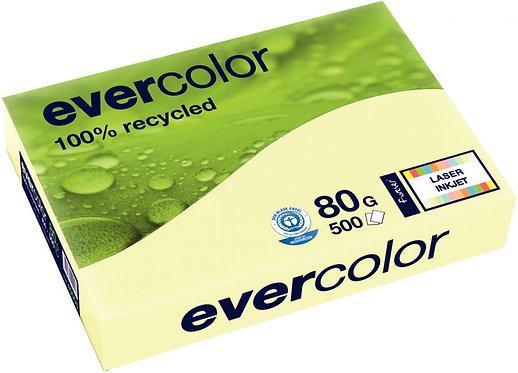 Ramette de 500 feuilles de papier recyclé 80g de format A4 jaune EVERCOLOR