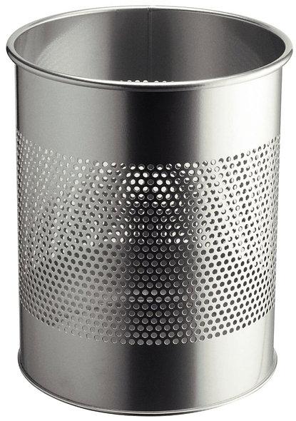 Corbeille à papier ajourée 15 litres métal gris