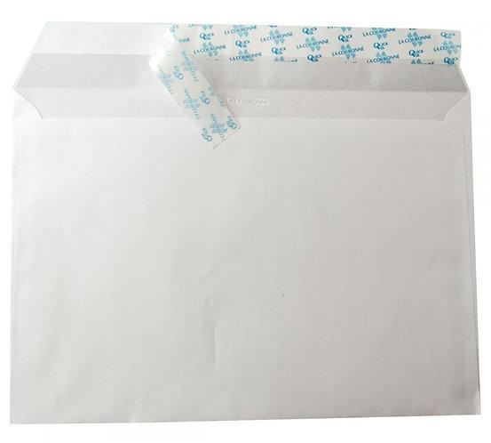 Boîte 250 enveloppes blanches C4 229x324 90g/m² bande de protection