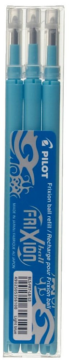 Etui de 3 recharges pour stylo Frixion turquoise