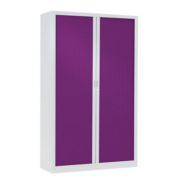 Armoire à rideaux bicolore 198 x 120 cm - Corps blanc - Rideaux Color