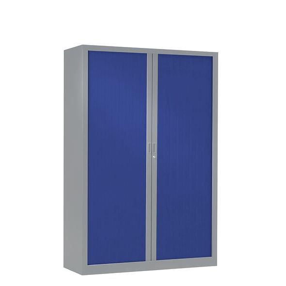 Armoire à rideaux bicolore 160 x 120 cm - Corps gris aluminium - Rideaux