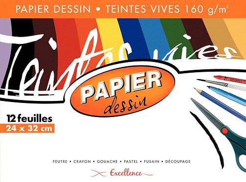 Pochette 12 feuilles papier dessin 160g couleur 24x32 cm teintes vives assorties