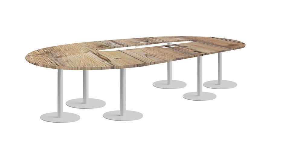 Table ovale JAROD - Capacité 8 à 12 personnes - Piétement Gris aluminium