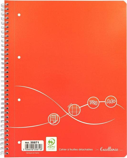Cahier à reliure intégrale Excellence 160 pages format A4+ seyès papier 70g
