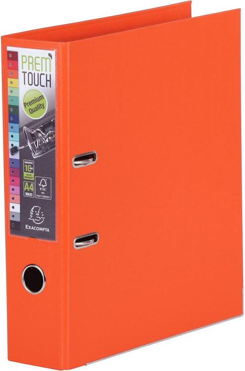 Classeur à levier en plastique PREM'TOUCH format A4 maxi dos 8 cm orange