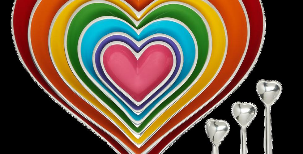Rainbow Seven Hearts Set with 3 Heart Spoons
