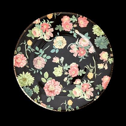 "Melamine 8"" Plate With Dark Rose Art Print - Set of 4"