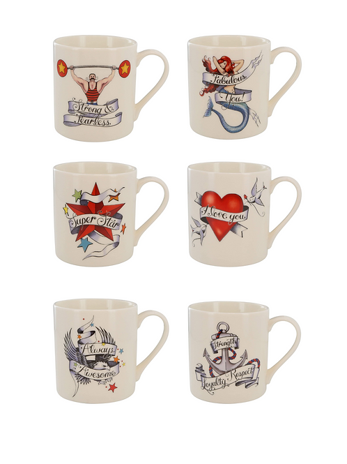 TATTOO MUG SET X 6