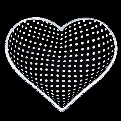 Tiny Heart - Black with White  Dots