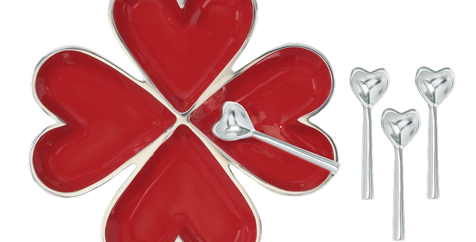 4 Hearts with 4 Heart Spoons - Red