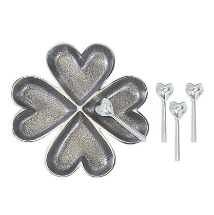 4 Hearts with 4 Heart Spoons - Silver