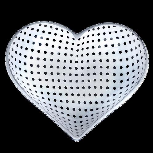 Tiny Heart - White with Black Dots