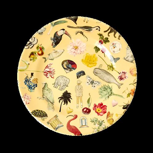 "Melamone 8"" Plate With Yellow  Art Print - Set of 4"