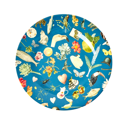 "Melamine 8"" Plate With blue Art Print - Set of 4"