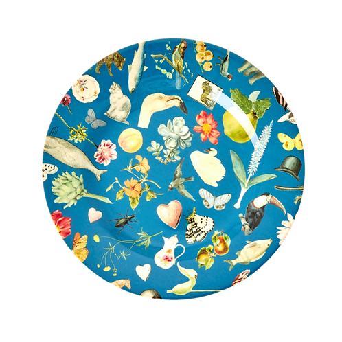 "Melamine 8"" Plate With blue Art Print - Set of 4"