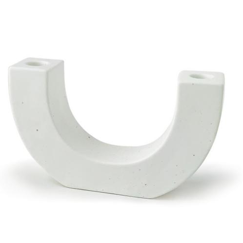 WHITE SPECKLED U-SHAPED CERAMIC TAPER HOLDER -