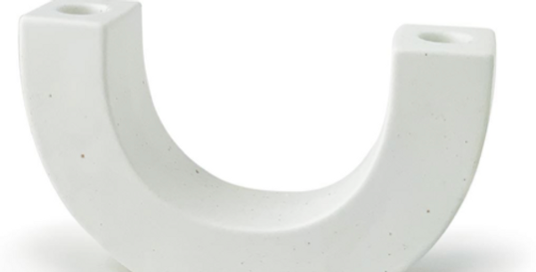 WHITE SPECKLED U-SHAPED CERAMIC TAPER HOLDER -