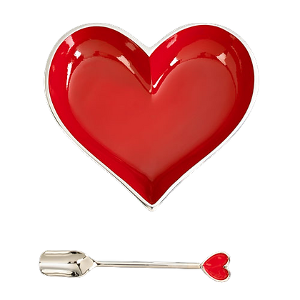 Red Heart Bowl with Spoon