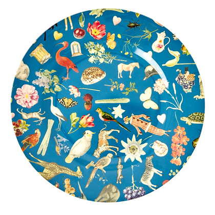 "Melamine 10"" Plate With Blue Art Print - Set of 4"