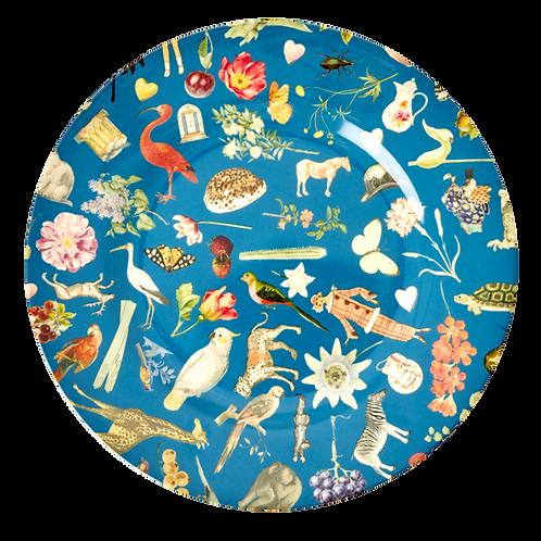 "Melamine 10"" Plate With Blue Art Print - Set of 4"