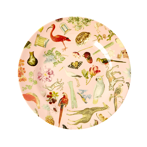 """Melamine 8"""" Plate With Pink Art Print - Set of 4"""