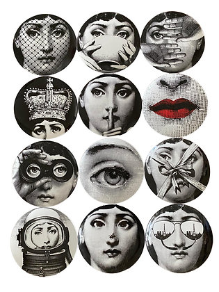 """Fornasetti  Style  Assorted  8""""  Plates - Set of 12"""