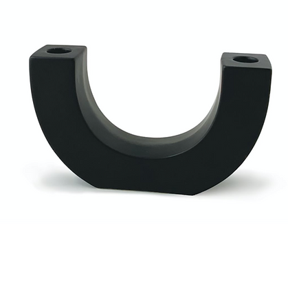 TEXTURED BLACK U-SHAPED CERAMIC TAPER HOLDER - BLACK