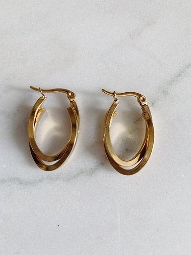 DOUBLE HOOPS SMALL - GOLD & SILVER