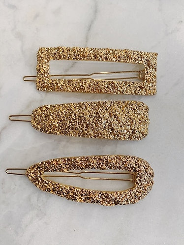 PACKAGE HAIRCLIPS GOLD - 3 PIECES