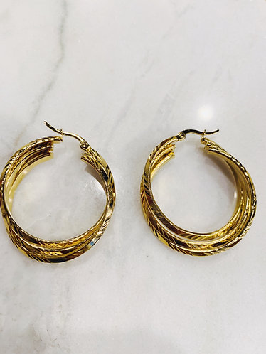 STATEMENT HOOPS - TRIPLE - GOLD