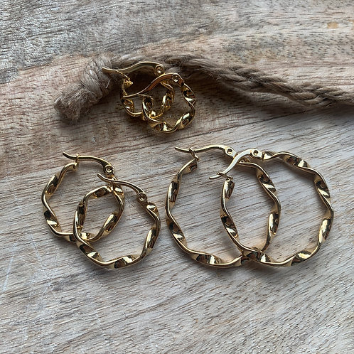 WAVE HOOPS GOLD - 3 SIZES