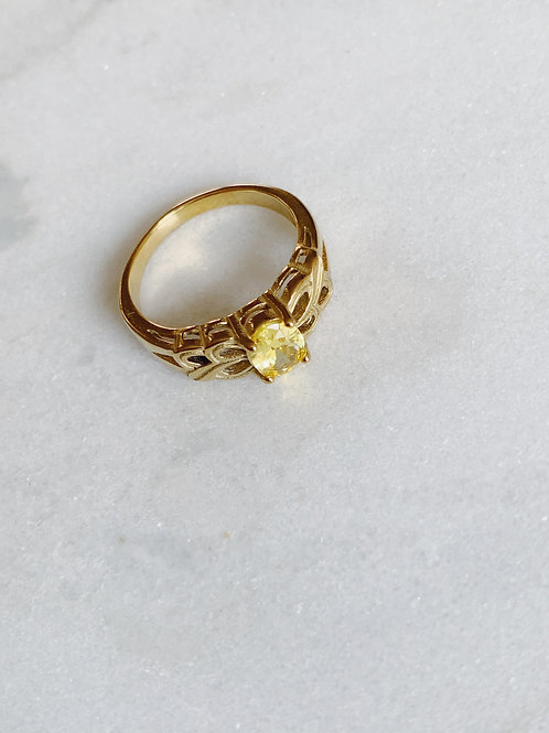 VINTAGE YELLOW STONE RING - GOLD & SILVER OPTION
