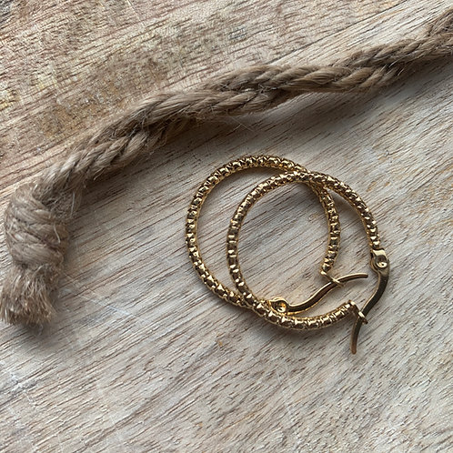 HAMMERED HOOPS - GOLD - 4 SIZES