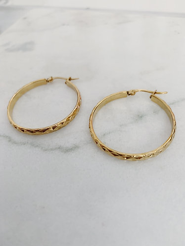 DIAMOND CUT HOOPS - GOLD - 3 SIZES