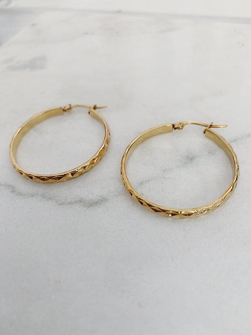 DIAMOND CUT HOOPS - GOLD - 3 SIZES