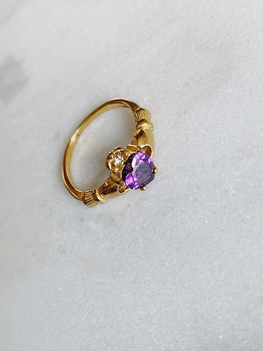VINTAGE PURPLE STONE RING - GOLD & SILVER OPTION