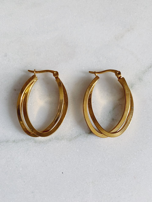 DOUBLE HOOPS MEDIUM - GOLD & SILVER