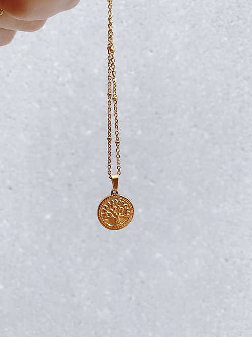 TINY TREE DOTTED COIN NECKLACE