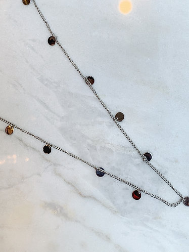 SILVER LONG COIN NECKLACE