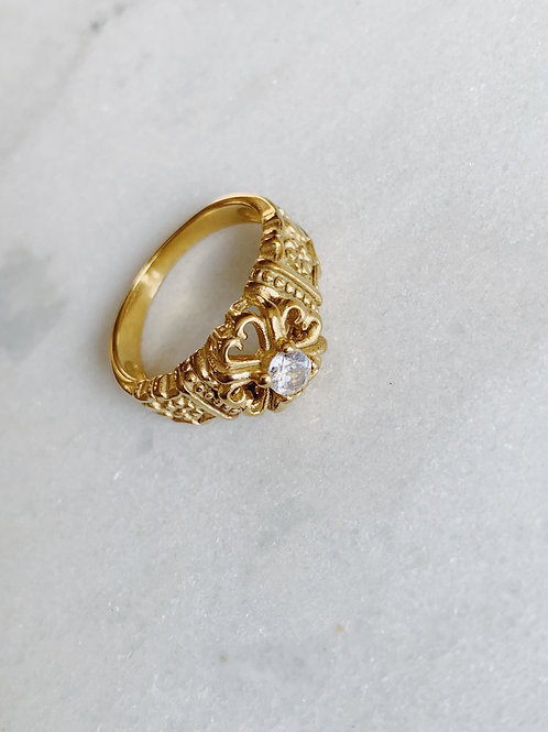 VINTAGE CLEAR STONE RING - GOLD & SILVER OPTION