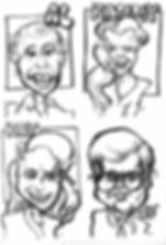Samples of quick caricature drawings done at a party. These are examples of individual caricatures. When drawing faces from the shoulders up, I draw about 15-20 guests perhour.