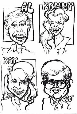 Samples of quick caricature drawings done at a party. These are examples of individual caricatures. When drawing faces from the shoulders up, I draw about 15-20 guests per hour.