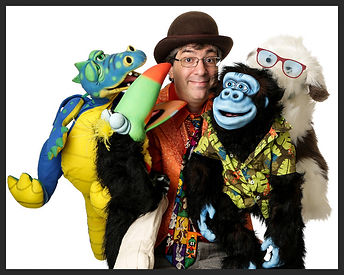 Chester County PA kids entertainment specialist The Amazing Spaghetti with his puppet pals: Devo the Dragon, Soupcan the Toucan, GooGoo the Gorilla & Mr. Magillacuddy.