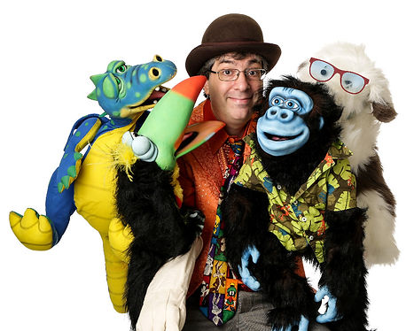 Puppeteer The Amazing Spaghetti (Dan Freed) With Devo the smoke breathing Dragon, Soupcan the Toucan, GooGoo the Gorilla, & Mr. Magillacuddy the Dog.