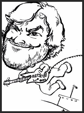 "Sample Party Caricature by Chester County PA artist Dan Freed. Another example of an action pose. This one is of musician/actor Jack Black. The drawings are usually done with black marker on 11 by 17"" paper."