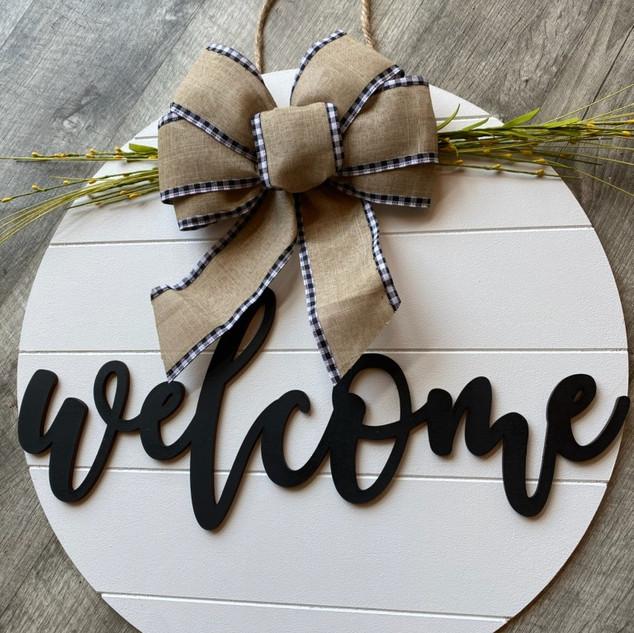 3D Welcome Sign with Faux shiplap