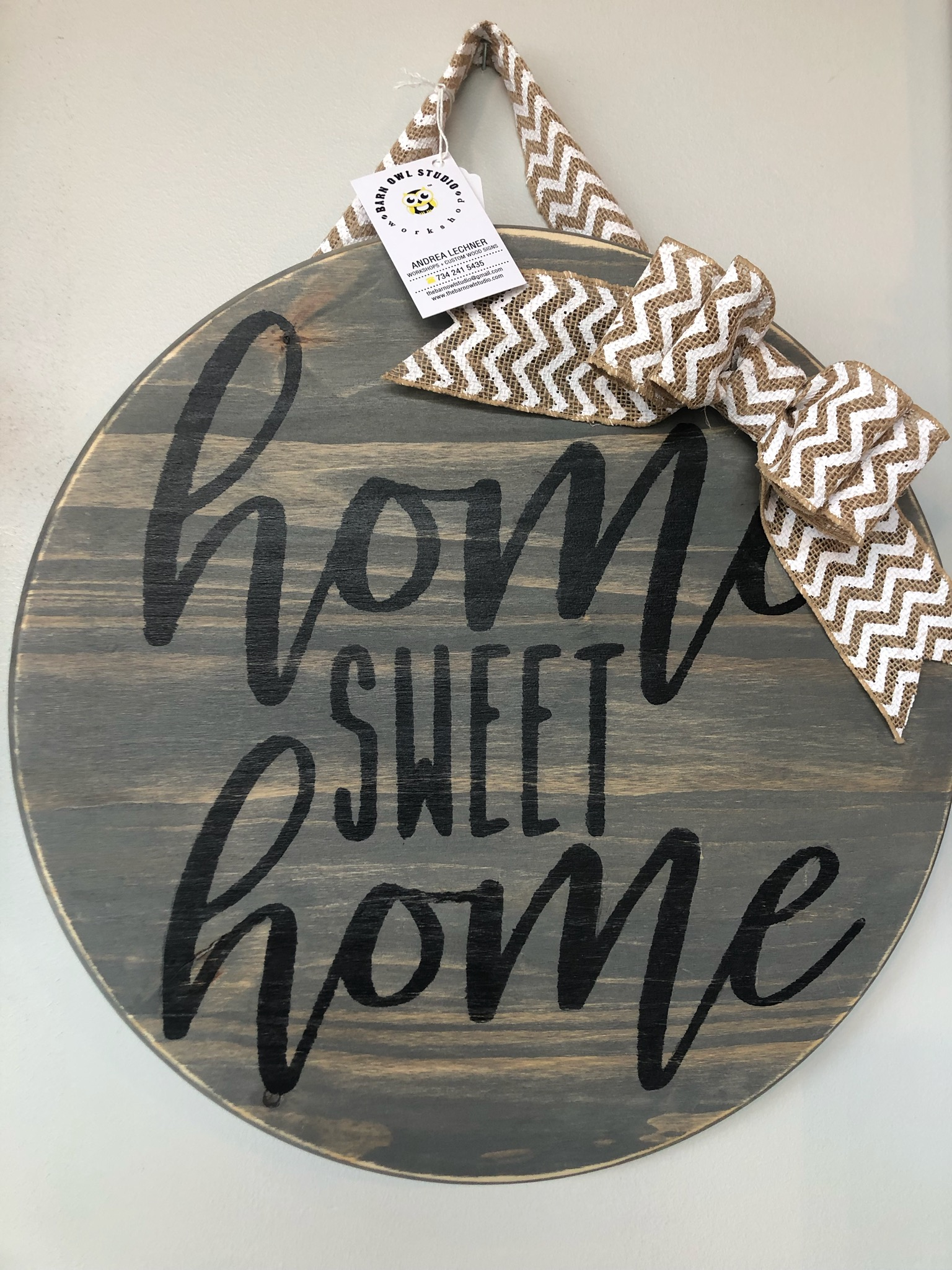 Round Home Sweet Home Door Hanger