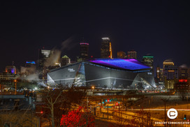 Down Town Minneapolis aglow in Super Bowl colors