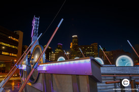 US Bank Stadium in Minneapolis, MN lit purple 04/20/2017 in recognition of the 1 year anniversary of Prince's passing on the 21st